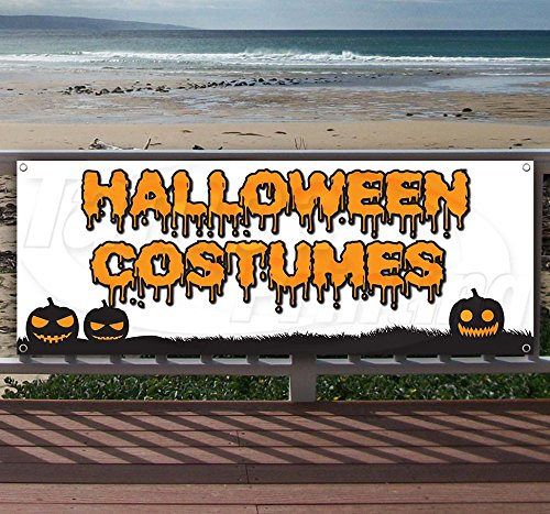 Halloween Costumes 13 oz Heavy Duty Vinyl Banner Sign with Metal Grommets, New, Store, Advertising, Flag, (Many Sizes Available)]()
