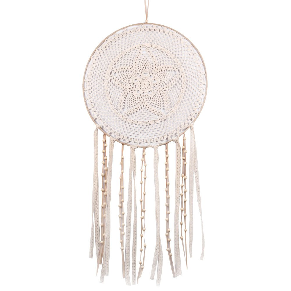 BUYITNOW White Tassel Dreamcatcher Boho Style Crochet Lace Wall Hanging Decorations 33.4'' Long
