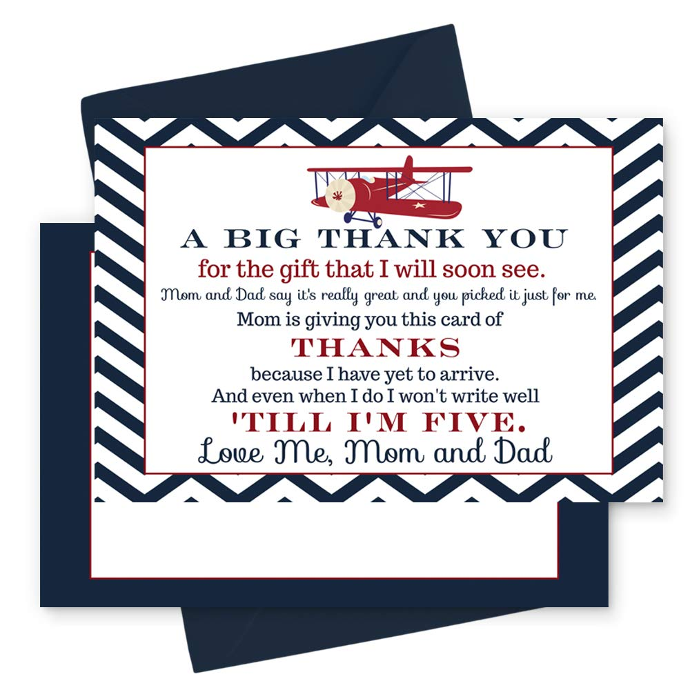 15 Airplane Thank You Cards with Navy Envelopes - Stationery for Boys Baby Shower
