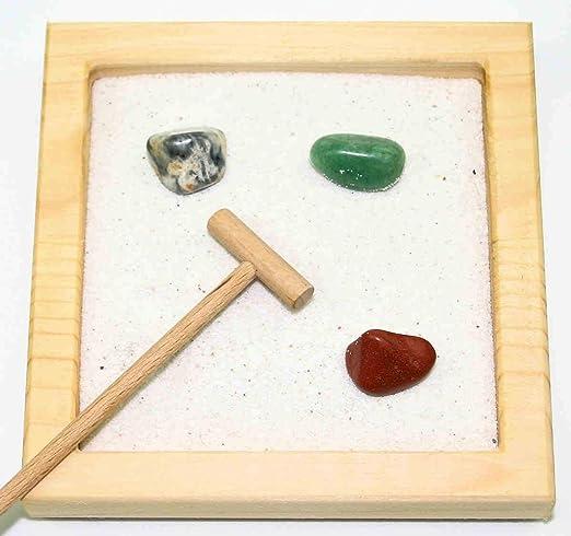 Jardín Zen S Natural con Piedras Preciosas, rastrillo y Arena, Madera, Hämatit, 24 x 17 cm: Amazon.es: Hogar
