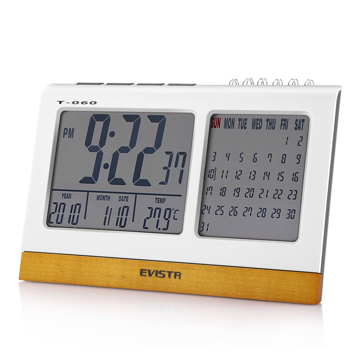Evistr T-060 Desk Digital Alarm Clock with Calendar & Temperature Display Powered by 3 AAA Battery