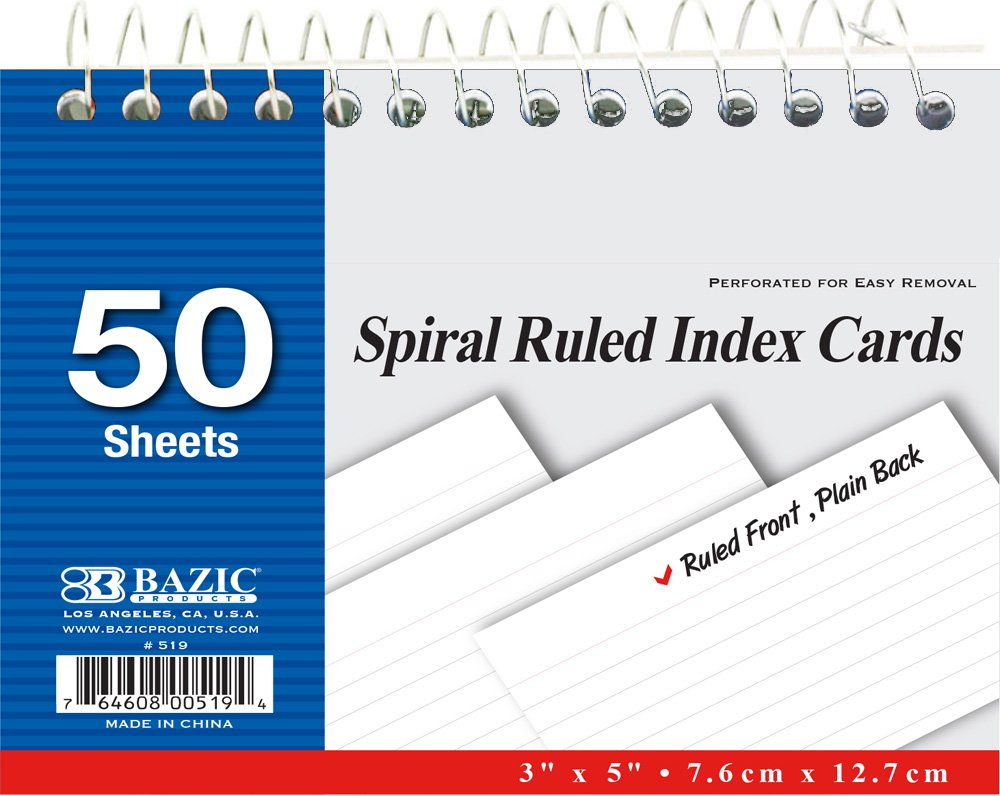 BAZIC 50 Ct. Spiral Bound Index Cards. 3x5 Perforated Flash Cards for School, Stationery, or Office Supplies (White. Case of 36) by Bazic