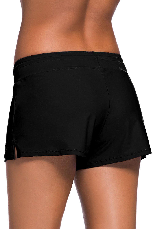 Aleumdr Women's Swim Boardshort Bottom Shorts Swimming Panty Medium Black by Aleumdr (Image #4)