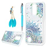 LG K10 Case 2017, LG K20 Plus Case, LG K20 V Case Liquid Glitter Sparkle Girl Women Luxury Fashion Bling Flowing Liquid Floating Quicksand Cute Clear TPU+Shockproof Protective Cover Skin, Totem