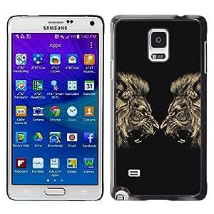 Be Good Phone Accessory // Dura Cáscara cubierta Protectora Caso Carcasa Funda de Protección para Samsung Galaxy Note 4 SM-N910 // Lion Angry Roar Fight Boxing Champion