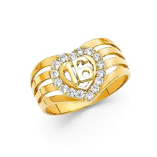 Corazón Sweet 16 cumpleaños anillo sólido 14 K oro amarillo ...