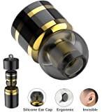 Mini Bluetooth Earbud BT V4.1 Invisible Bluetooth Headphone Single Wireless Car Headset Super Small Earpiece With Mic Metal Earphone (Black Gold)
