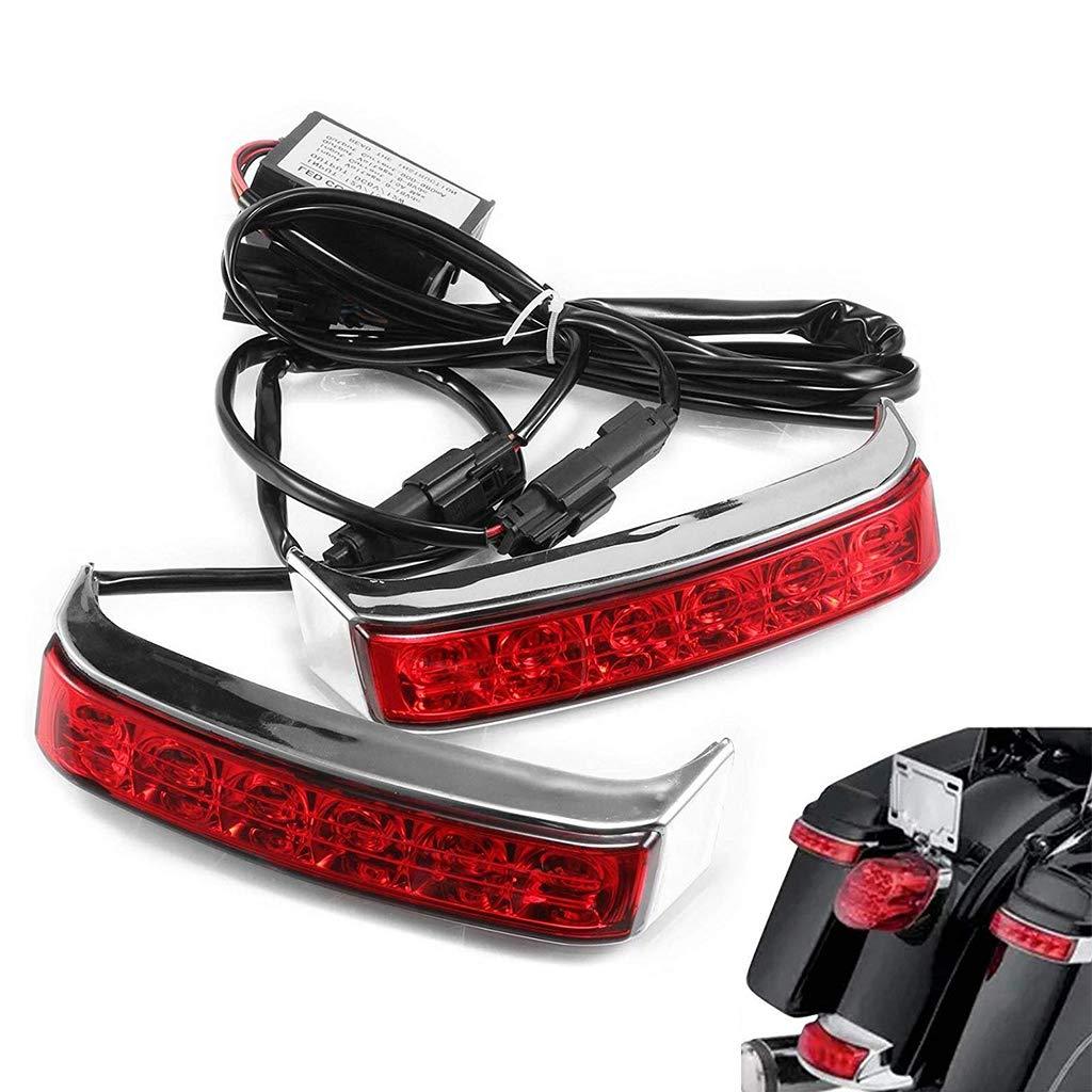 Saddlebag Housing Tail Run Brake Turn Light Lamp LED Len For Harley Touring Street Road Gilde CVO Electra Glide Ultra Classic Ultra Limited CVO 2014-2017 (Chrome)