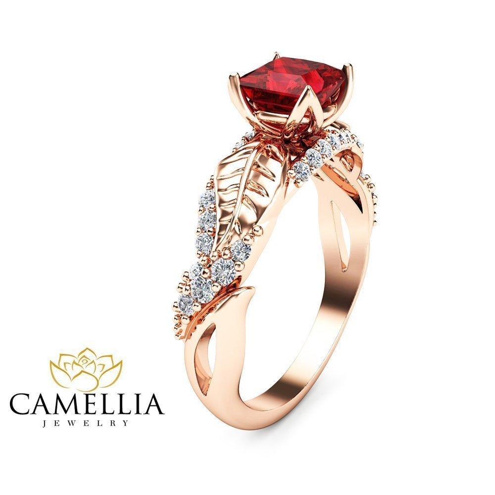 Amazon Princess Cut Ruby Engagement Ring In 14k Rose Gold Leaf Design Handmade: Princess Cut Ruby Diamond Wedding Ring At Websimilar.org