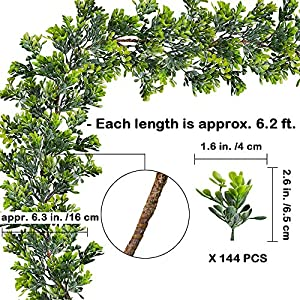 "WINDIY SUPLA 6.6' Long 4.3"" Wide Artificial Boxwood Greenery Garland Faux Boxwood Greenery Garland String Hanging Boxwood Twigs Vine Garland Table Runner for Spring Weddings Indoor Outdoor Décor 4"