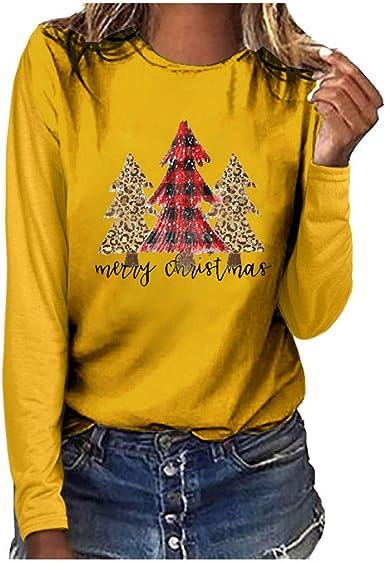 K-Youth Camiseta Mujer Navidad 2019 Oferta Ropa para Mujeres Camisetas de Manga Larga Mujer Talla Grande Camisas Estampado Blusas de Fiesta de Mujer Blusa Pullover Shirts Top: Amazon.es: Ropa y accesorios