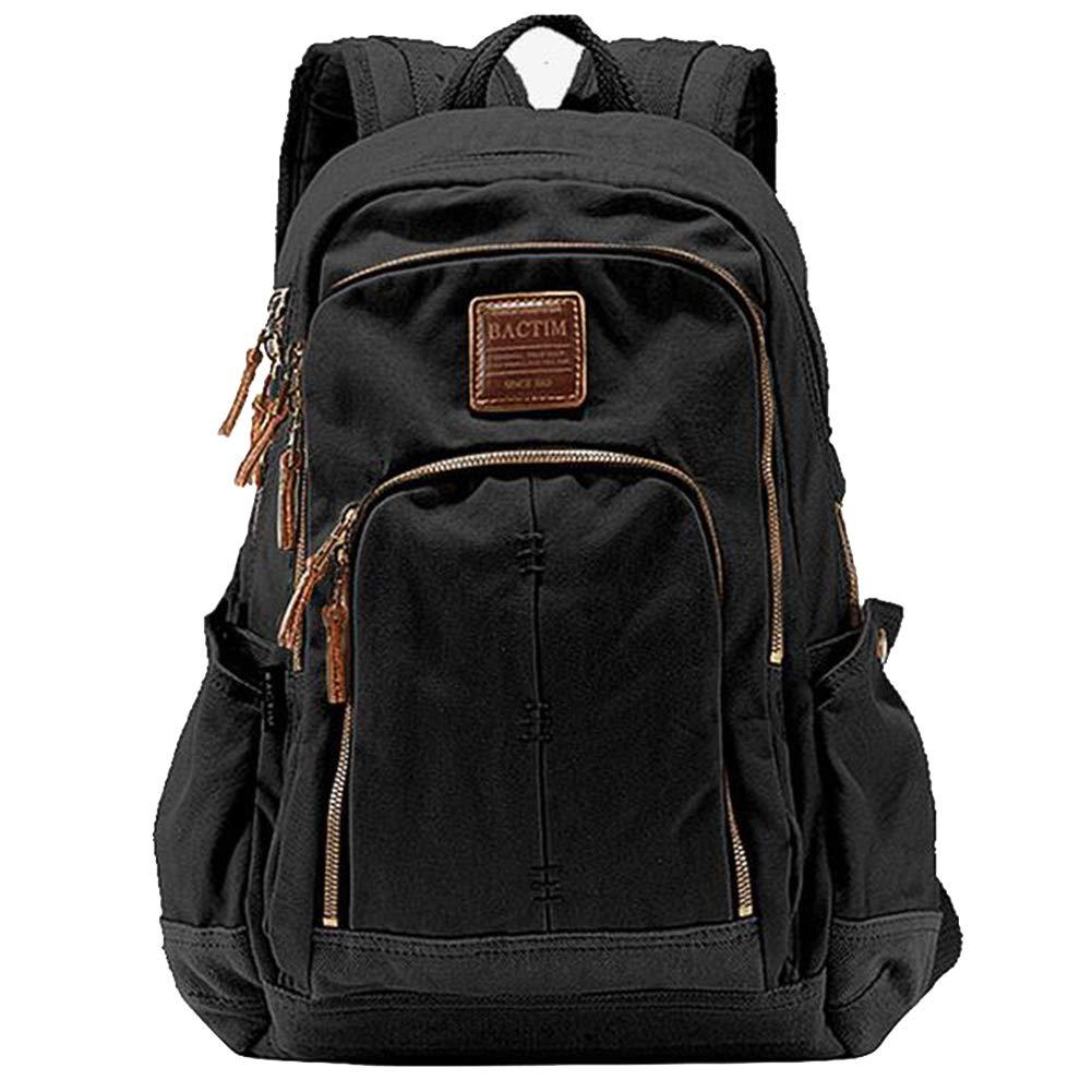 バックパック、レトロキャンバスメンズアウトドアレジャーシンプルで実用的な大容量のハイキングリュックサック旅行デイパック旅行、学校に適して,Black,26*14*43CM 26*14*43CM Black B07Q6XSLSG