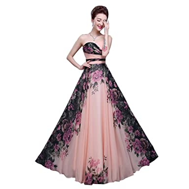 Womens Chiffon Floral Printed Formal Evening Gowns Long Prom Dresses Strapless (2, printed)