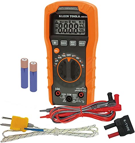 Klein Tools MM400 Multimeter, Auto Ranging Digital Electrical Tester for Temperature, Capacitance, Frequency, Duty-Cycle, Diodes, Continuity
