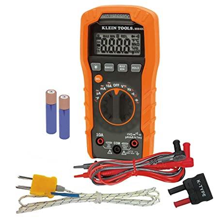 Klein Tools MM400 Digital Auto-Ranging Multimeter Temperature, Capacitance, Frequency, Duty-Cycle, Diodes and Continuity, 600V