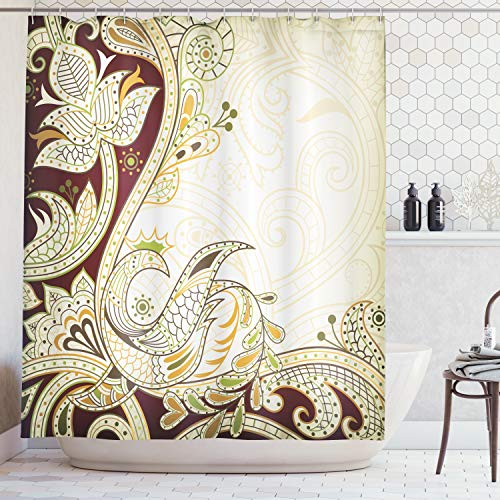 Oriental Curtain - Ambesonne Ethnic Shower Curtain, Oriental Floral Leaf Pattern with Middle Eastern Design, Cloth Fabric Bathroom Decor Set with Hooks, 84 Inches Extra Long, Redwood Orange