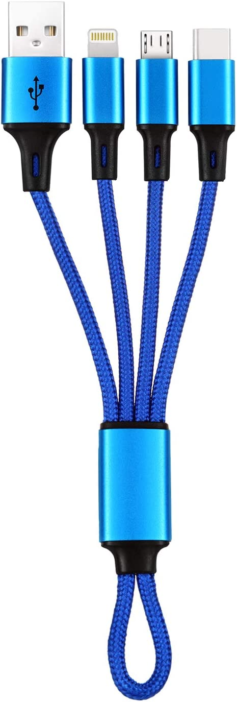 """3in1 USB MicroUSB/Type C Cable (3in1), iFlash 3 in 1 Multi USB Charging Short Travel Size 8"""" Keychain Cord for Samsung Galaxy S10 S9 S8, Android Smartphones, iPhone Xs MAX XR X 8 Plus 7 6S (Blue)"""