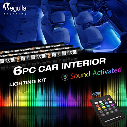 Underdash Lighting Kit, Megulla Smart RGB Multi-Color LED 6PC Car Interior Lighting Kits with Sound Activation and Wireless Remote for Cars, Trucks, Pickups, SUV and more
