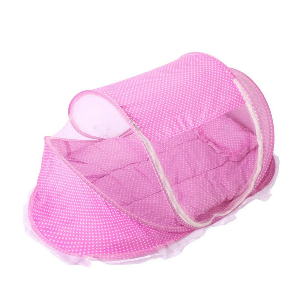 TYZNB Baby Mosquito net Summer Mosquito Folding Portable Free Installation Mosquito net Bed Full Cover 2019 New (Three Sets), Pink, 1106560cm