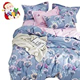 Purple and Blue Bedding Sets BuLuTu 3 Pieces Girls Duvet Cover Set Full Kids Blue/Purple/Pink Cotton,Dandelion Butterfly Print Reversible Bedding Sets Queen Comforter Cover 2 Pillow Shams Zipper,Super Soft,No Comforter