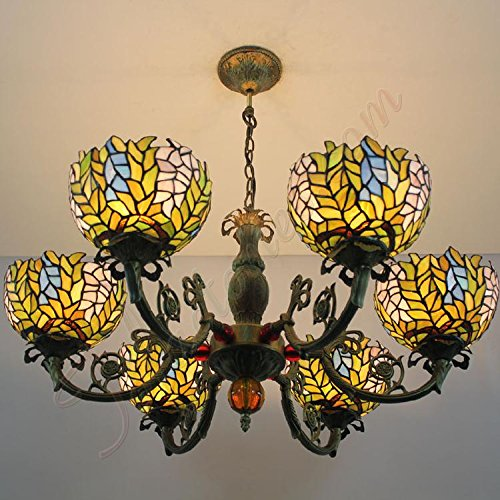 ETERN American Country Wisteria Handmade Glass Lamps Chandelier - 6 Ligths