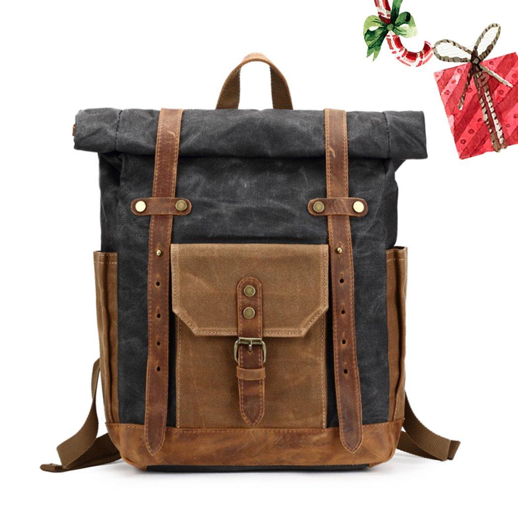 Vintage Canvas Leather Bag Commuter Backpack Waxed Canvas & Leather Laptop Backpack Work-to-weekend Travel Backpack 11.8'' x 5.1'' x 19.7''(Dark Gray)