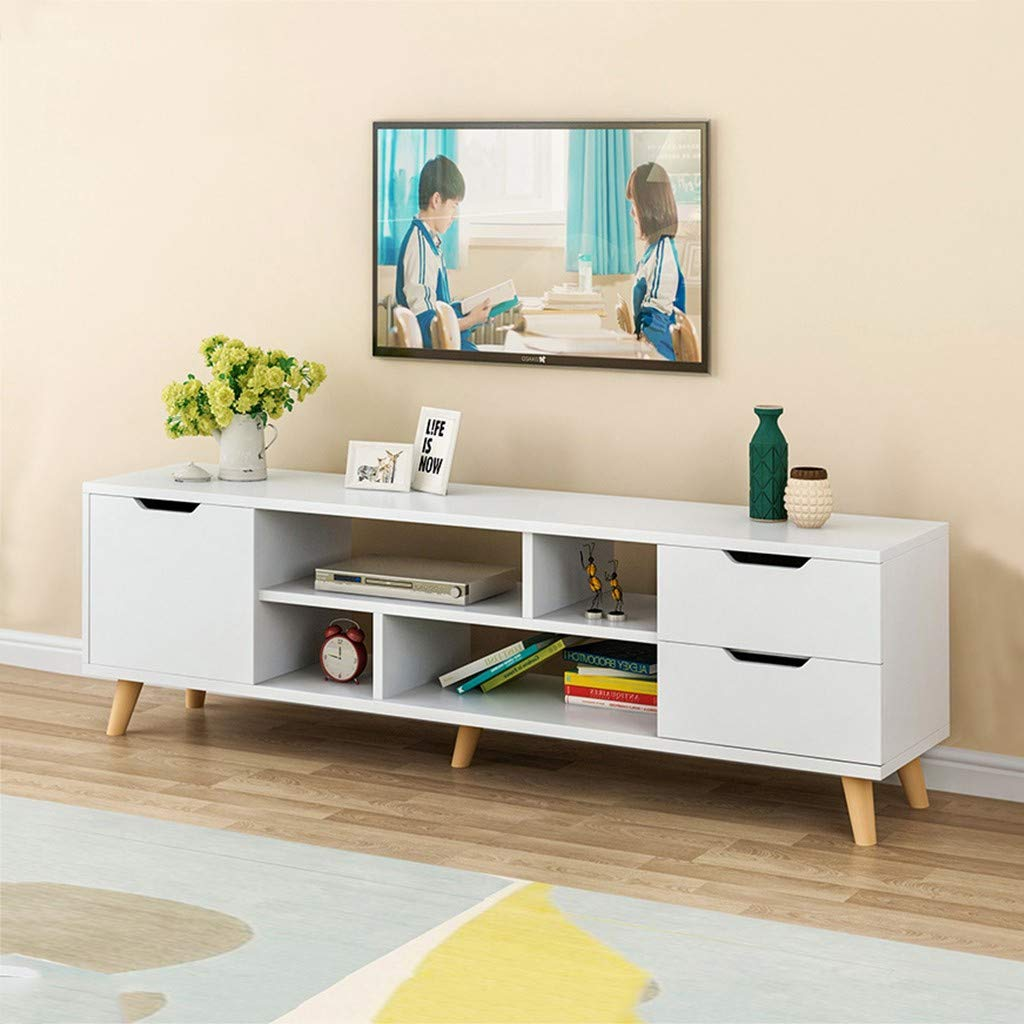 Wood Cabinet TV Table with Storage Shelves, Modern Multipurpose Home Furniture Storage Entertainment Media Center Coffee Table for Living Room (White) by Lcyus