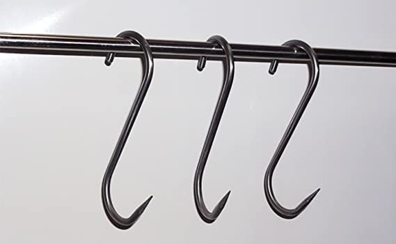 5x POINTED STEEL S HOOKS Hanging Corrosion Rust Resistant Kitchen Butchers Meat