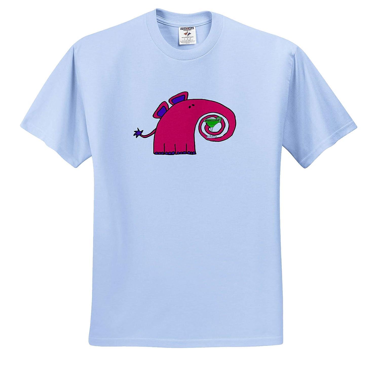 3dRose All Smiles Art Funny Cute Pink Elephant Drinking Margarita Cartoon Adult T-Shirt XL Animals ts/_317707