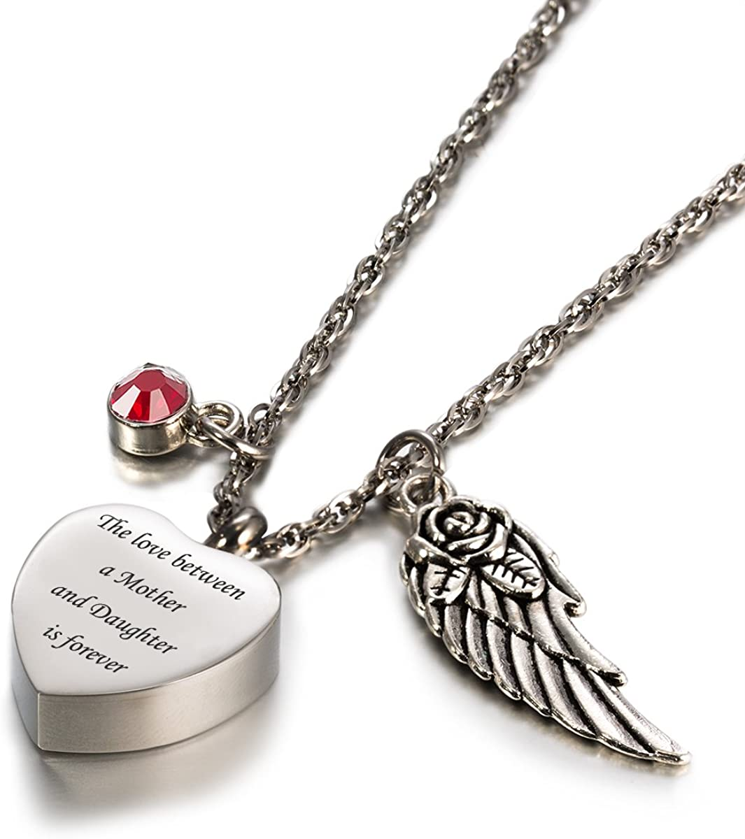 Glimkis Cremation Jewelry for Ashes Love Between Mother/& Daughter is Forever Birthstone urn Necklaces for Ashes