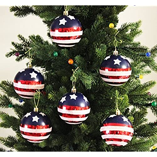 esscoe 6pk 80mm shatterproof stars stripes christmas ball ornamentsdecorations stars stripes
