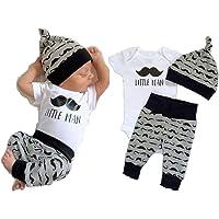 Newborn Baby Boy Tops Romper Short Sleeve Long Pants Legging Hat Outfit Set Clothes