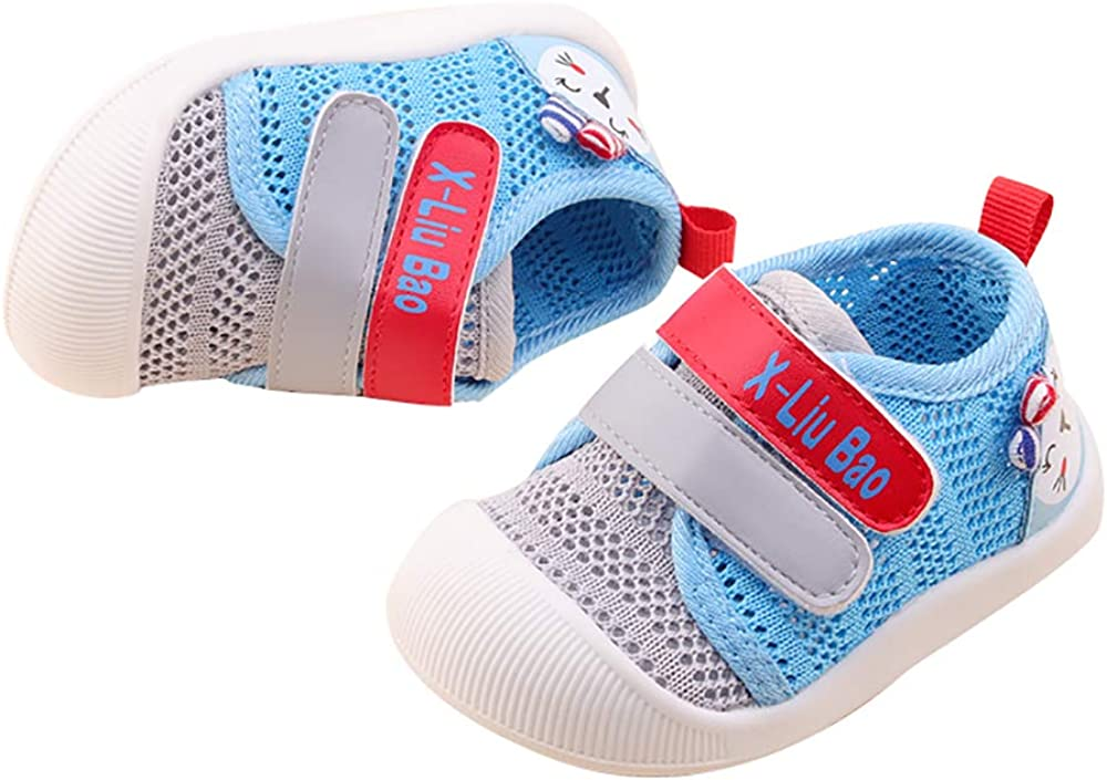 QGAKAGO Baby Girls or Boys Breathable Mesh Upper Rubber Sole Non-Slip Running Sneakers First Walkers Shoes