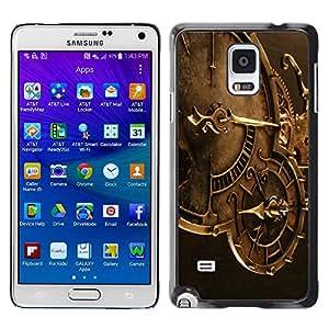 QCASE / Samsung Galaxy Note 4 SM-N910F SM-N910K SM-N910C SM-N910W8 SM-N910U SM-N910 / la mecánica de la máquina de tiempo de reloj de vigilancia tecnológica / Delgado Negro Plástico caso cubierta Shell Armor Funda Case Cover
