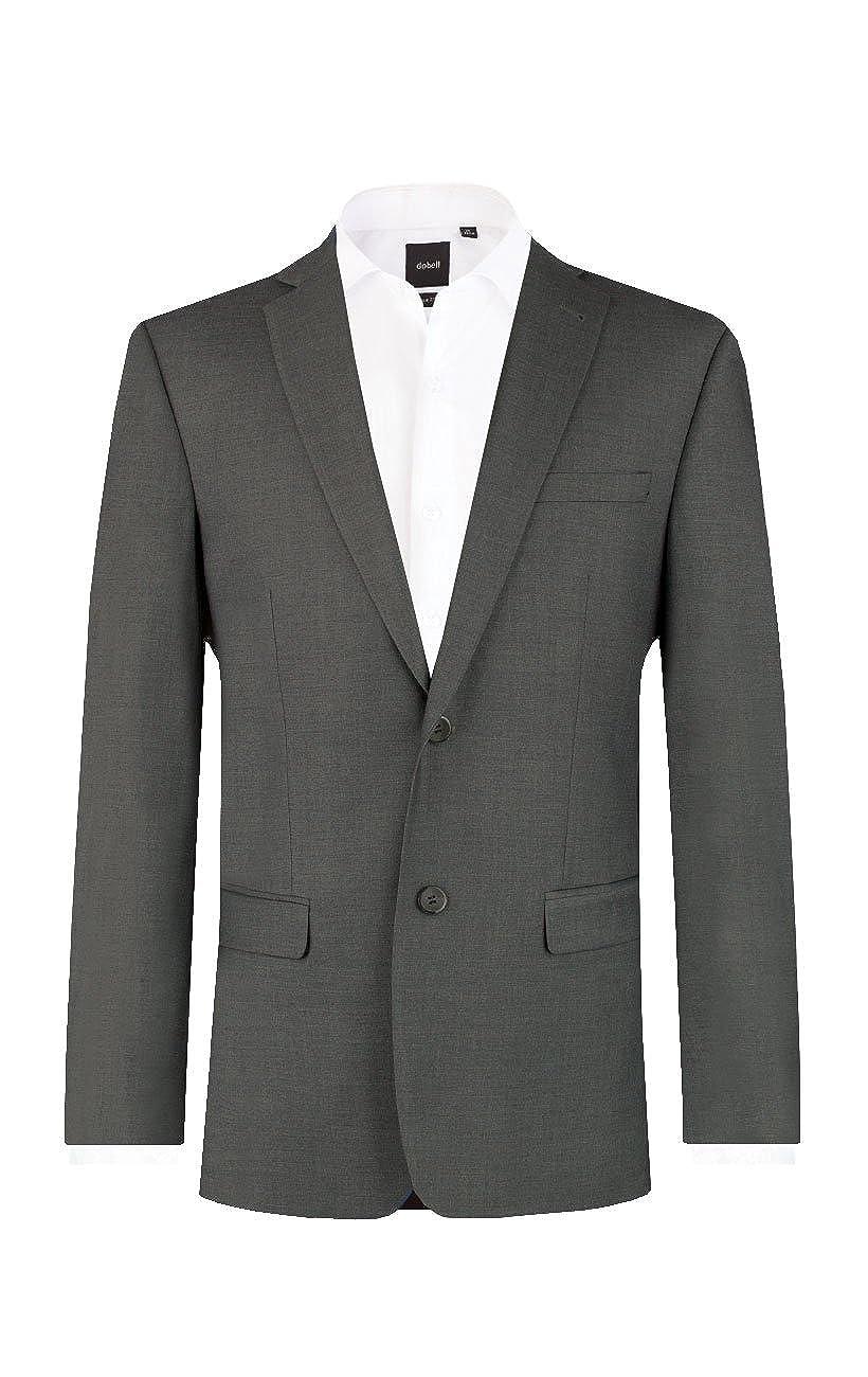 Dobell Mens Dark Grey Suit Jacket Regular Fit Notch Lapel