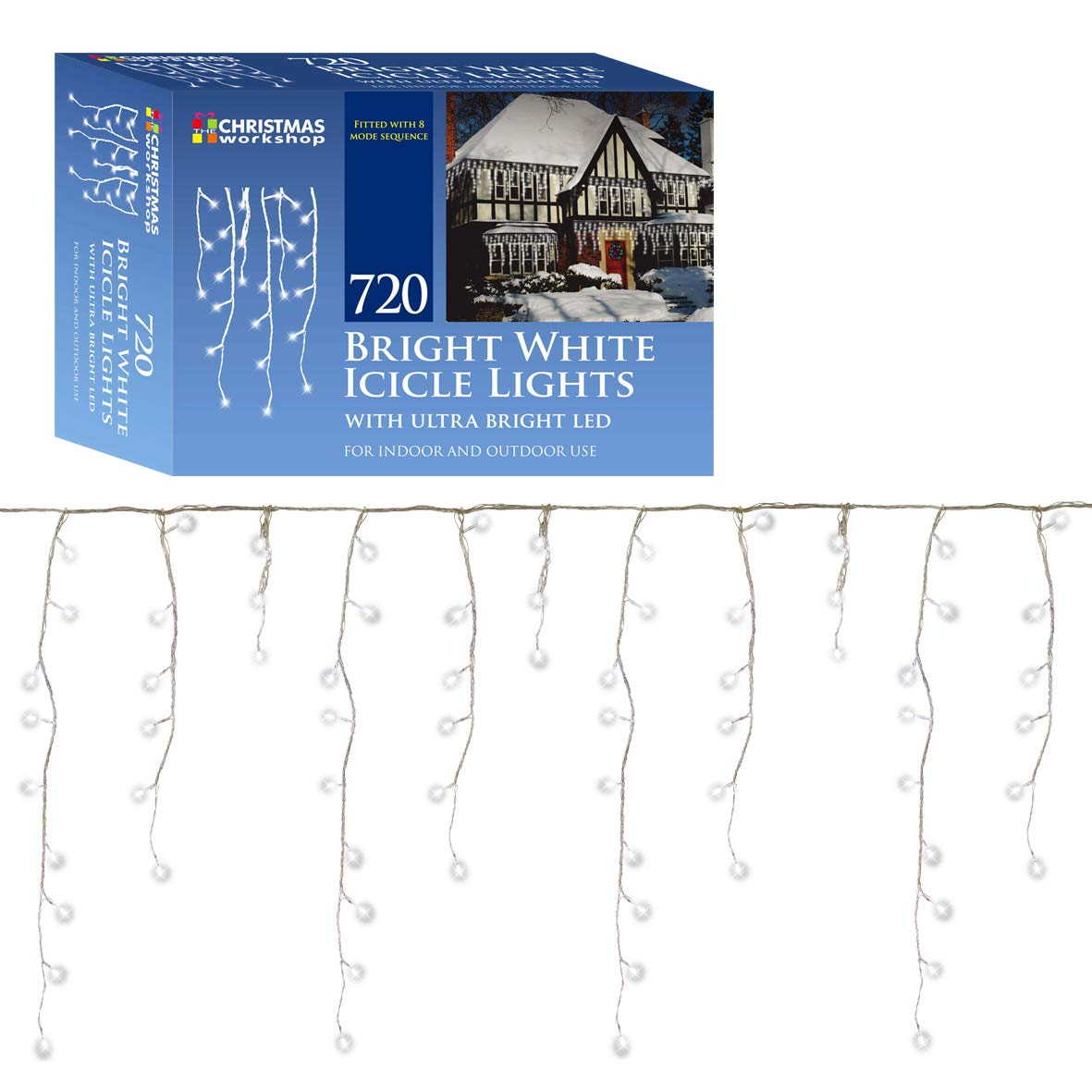 Christmas Workshop 77540 720 LED Icicle Chaser Lights - Bright White ...