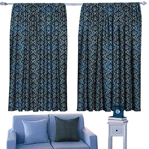 Damask Modern Kids Curtain Ancient Old Flourish in Ornate Style Venetian Art Inspirations Rich Baroque,Decorative Curtains for Living Room,W55 x L39 Inch