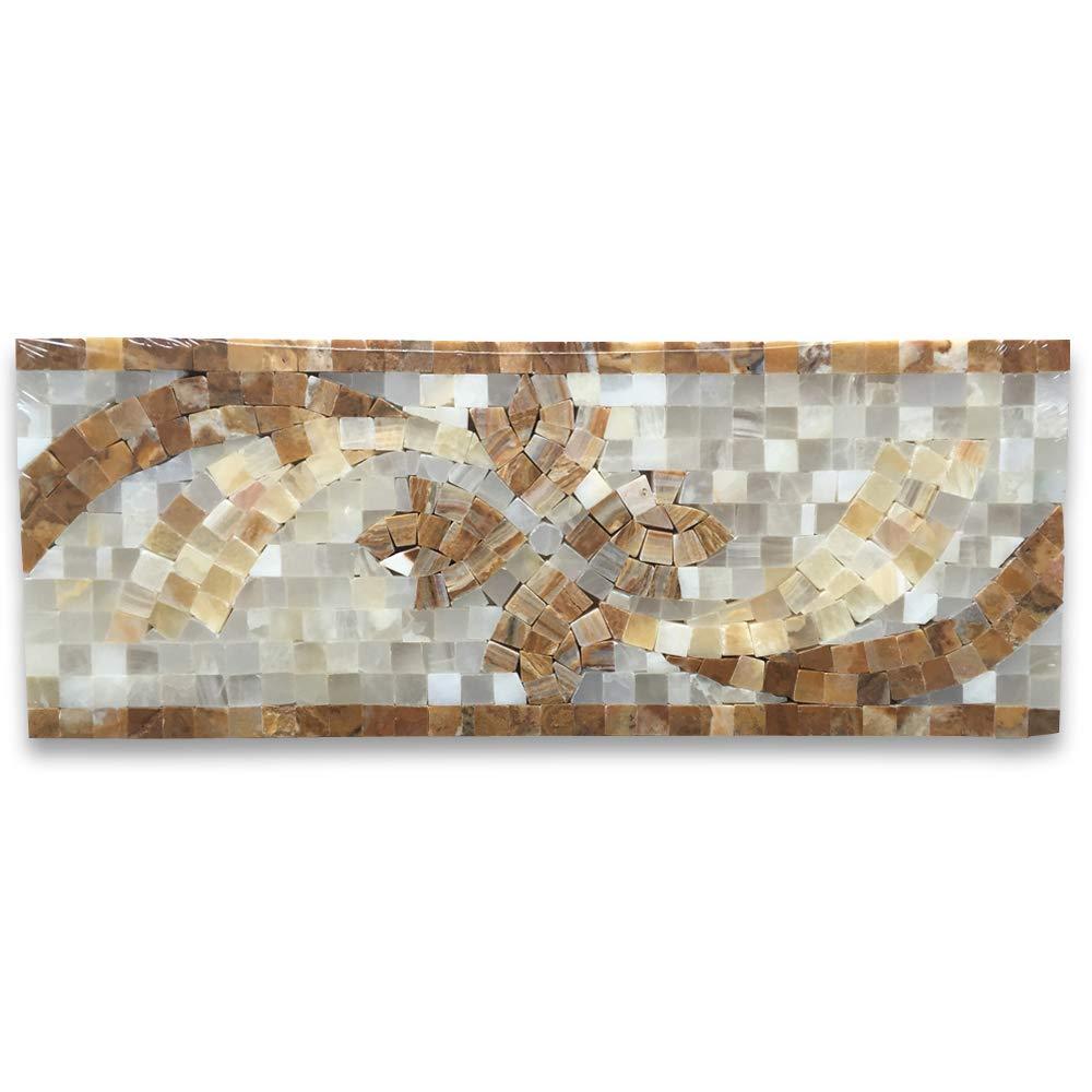 Stone Center Online Clover Onyx 4.7x12 Marble Mosaic Border Listello Tile Polished