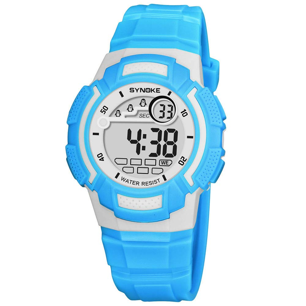 Bestow SYNOKE Multi-Function 50M Reloj Impermeable LED Digital Reloj de Accišn Doble Reloj Deportivo(Azul): Amazon.es: Ropa y accesorios