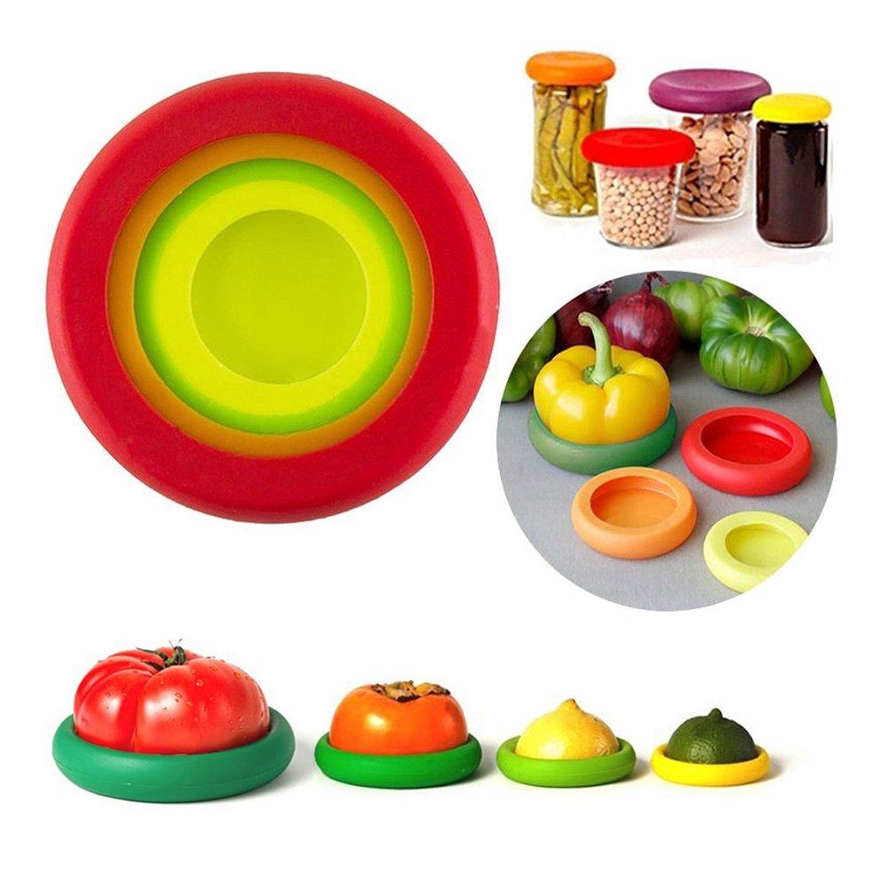 Maphissus Contenitori per alimenti riutilizzabili, in silicone flessibile, per frutta e verdura, set da 4 pezzi