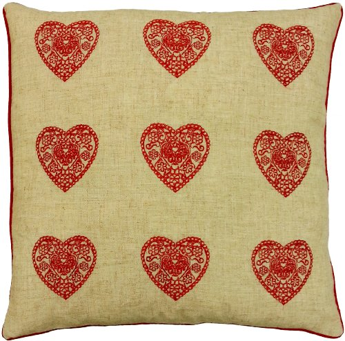FUNKY MODERN HEART RED LINEN FAUX SILK EMBROIDERED CUSHION COVER PILLOW CASE SHAM 18