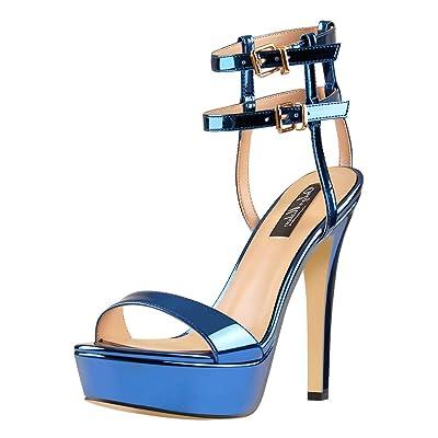 Onlymaker Women's Ankle Strap Open Toe Platform Sandals Heeled Dress Shoes | Heeled Sandals