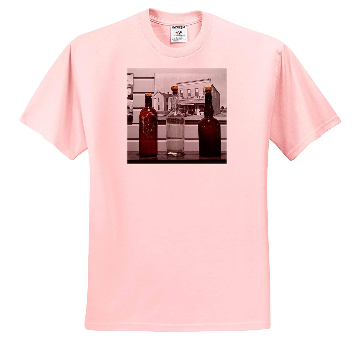 Bottles Old Fashioned Against Wall 3dRose Susans Zoo Crew Scenery T-Shirts