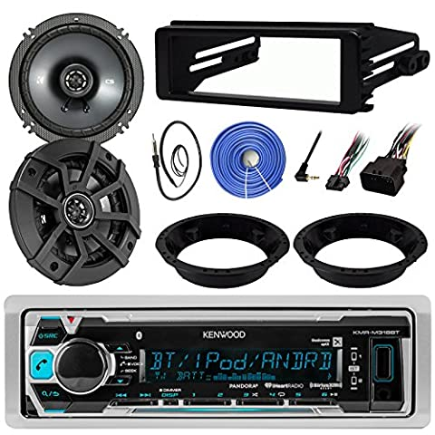 Kenwood KMR-M318BT Stereo MP3 Receiver Bundle Combo With 2x Kicker 6.5