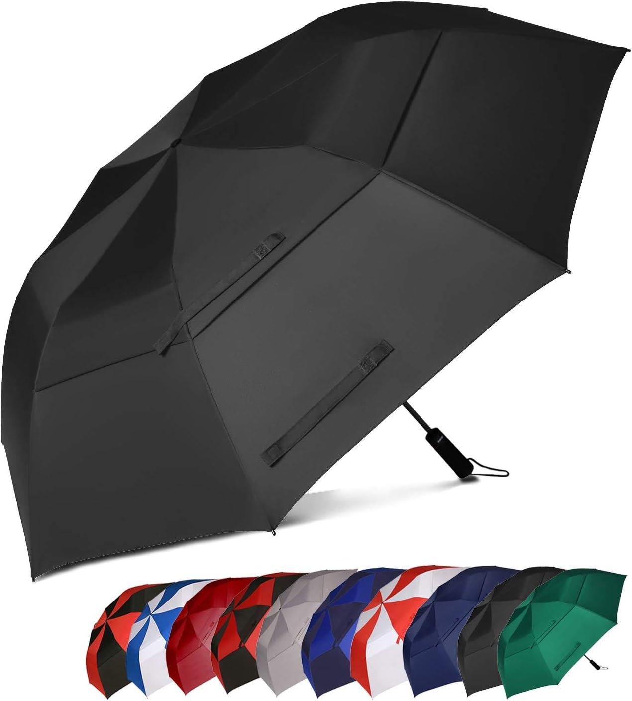 Eono by Amazon - Paraguas de Golf Resistente al Viento con Doble Tela y Sistema de Apertura automático, Antiviento Paraguas Grande, Large Golf Umbrella, Deportivo, Unisex, Impermeable, 58