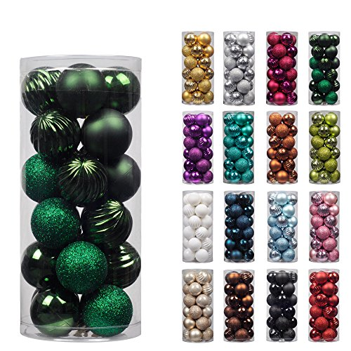 "[KI Store 24ct Christmas Ball Ornaments Shatterproof Christmas Decorations Tree Balls Small for Holiday Wedding Party Decoration, Tree Ornaments Hooks included 1.57"" (40mm Peacock Green)] (24k Christmas Tree Ornament)"