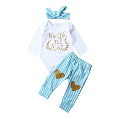 3Pcs/Set Infant Newborn Baby Girl Worth The Wait Bodysuit Striped Pants and Headband Outfit