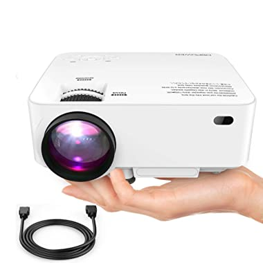 DBPOWER Mini Projector, 176  Display 1080P Full HD LED Movie Projector, 50,000 Hours Lamp Life Home Theater Video Projector with HDMI Cable, Compatible with USB SD VGA AV TV Laptop Game (White)