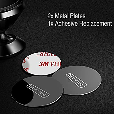 TORRAS Magnet Mount Metal Plates with 3M Adhesive Replacement, Accessories Tool Kit Compatible with Magnetic Car Mount Holder Cradle (Include 2 x Metal Plate, 1 x 3M Adhesive Replacement): Car Electronics