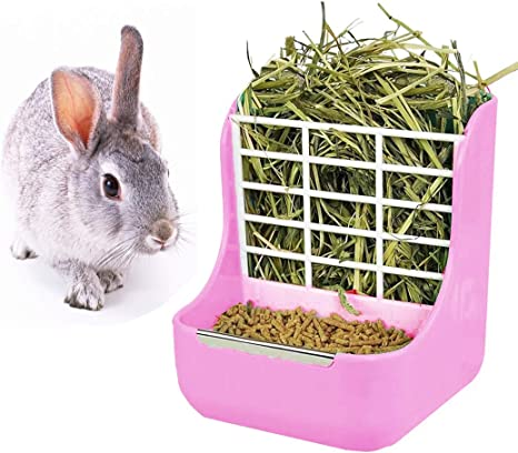 HunterBee Rabbit Hay Plastic Less Wasted Feeder Rack Guinea Pig Chinchilla Bunny Small Animals